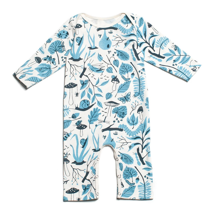 [20%OFF] From Brooklyn winter water factory Long Sleeve Romper - Leaves & Bugs Blue ロンパース 70/80