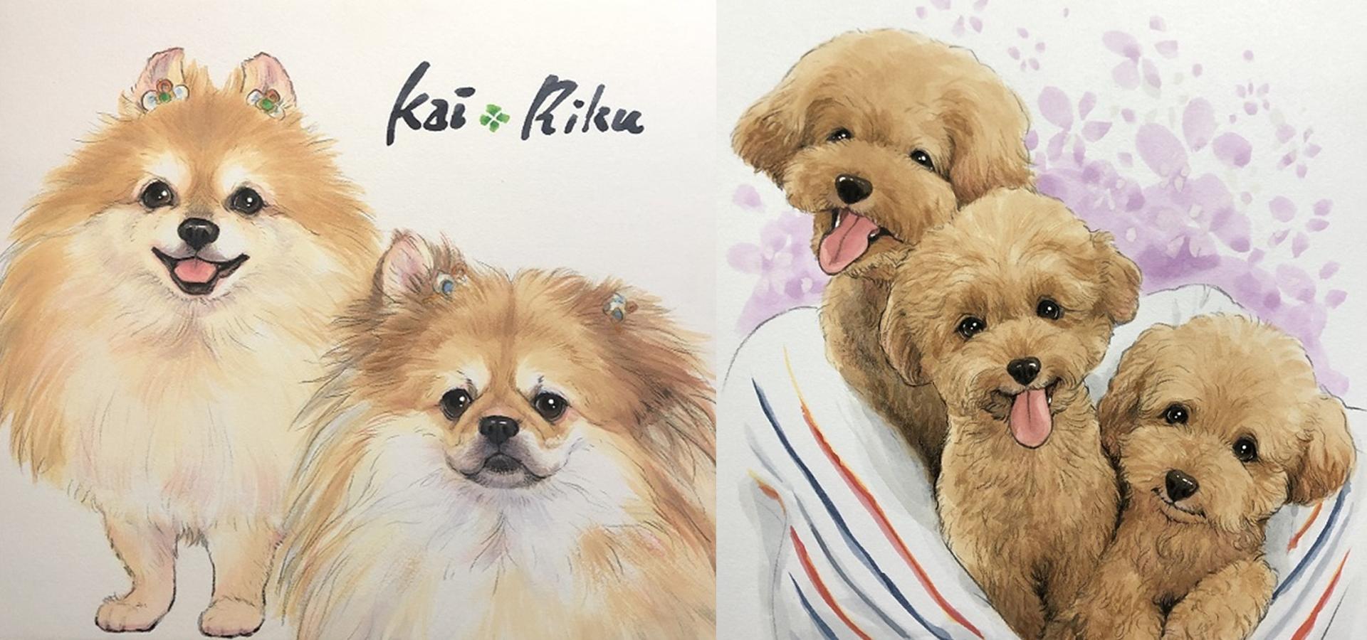 ペット似顔絵 犬・猫などリアルなペットの似顔絵オーダーメイド|にがおえ工房